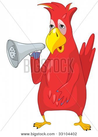 Cartoon Character Funny Parrot Isolated on White Background. Speacker. Vector EPS 10.