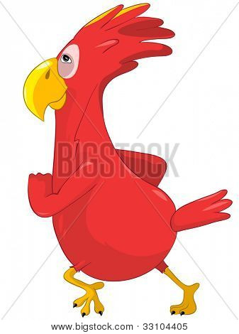 Cartoon Character Running Funny Parrot Isolated on White Background. Vector EPS 10.