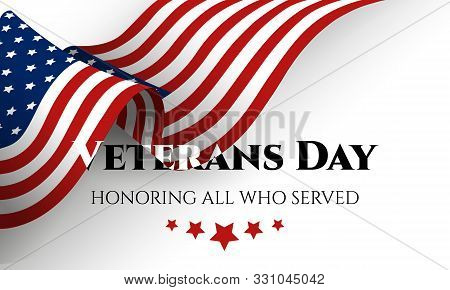 Happy Veterans Day Lettering With Usa Flag. November 11th, United State Of America, Usa Veterans Day
