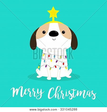 poster of Merry Christmas dog fir tree shape. Garland lights bulb string Star. Puppy pooch sitting. Funny Kawaii animal Kids print. Cute cartoon baby character. Pet collection Flat design Blue background Vector