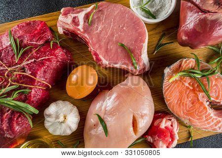 Carnivore Diet Background. Non Vegan Protein Sources, Different Meat Food - Chicken Breast, Pork Ste