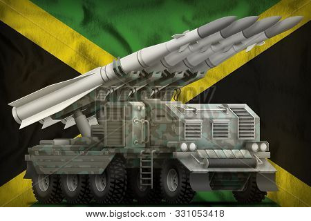 Tactical Short Range Ballistic Missile With Arctic Camouflage On The Jamaica Flag Background. 3d Ill