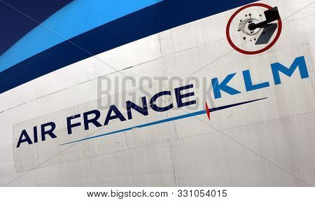 Letters Air France Klm On An Airplane