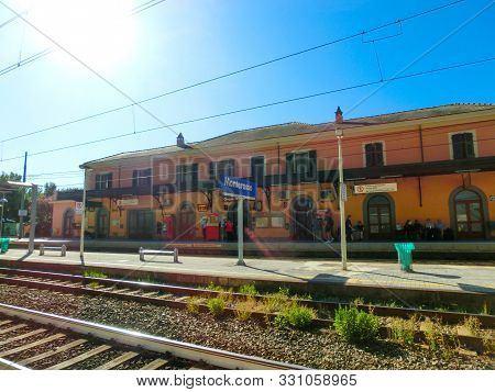 Monterosso, Italy - September 14, 2019: The Train Station At Monterosso At Italy