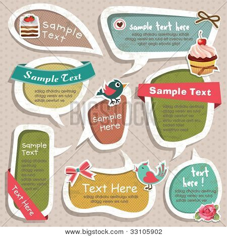 Collection of cute grunge speech bubbles text box and scrapbook elements