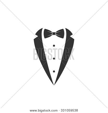Gentleman Graphic Icon. Bow Tie And Tuxedo Sign Isolated On White Background. Gala Evening Symbol. V