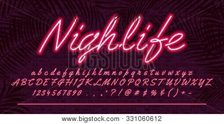 Neon Light Alphabet Font, Red Glowing Hand Drawn Uppercase And Lowercase Letters, Vector Typeface Ty