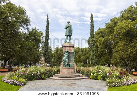 Helsinki, Finland - September 3, 2019: Statue Of National Poet Johan Ludvig Runeberg In Esplanadi Pa