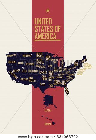 Color Poster With Detailed Map Of The United States Of America, With State Names, Travel To Usa Conc