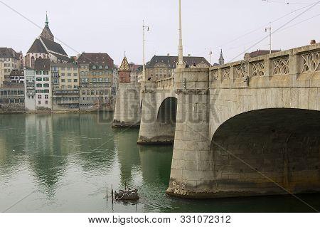 Basel, Switzerland - March 01, 2009: Bridge Over Rhine River In Basel, Switzerland.