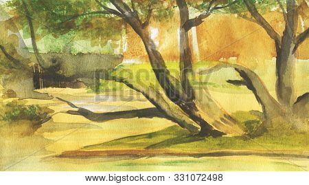 Abstract Landscape With Trees And Lake. Watercolor Illustration In Sketch Style