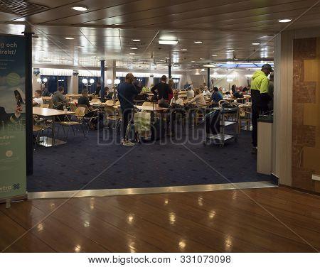 Trelleborg, Sweden - August 21, 2019: View On Interrior Of Restaurant Buffet, Snack Bar On Stena Lin