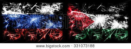 Russia, Russian Vs Palestine, Palestinian New Year Celebration Sparkling Fireworks Flags Concept Bac