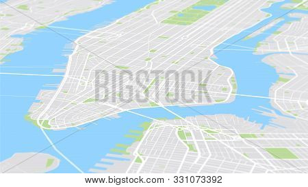 Aerial View City Map New York, Color Detailed Plan, Urban Grid In Perspective