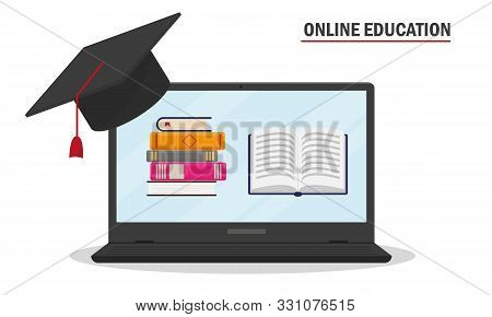 On-line Education Concept. Laptop With Books And Education Cap. Vector Illustration.