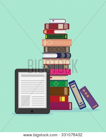 Big Stack Of Books And Ebook On Blue Background. Vector Flat Illustration For Ebook, Knowledge, Educ