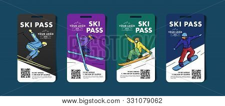 Set Of Ski Pass Cards, Admission For Lift To The Mountain Slopes With Colorful Illustrations Of Skie
