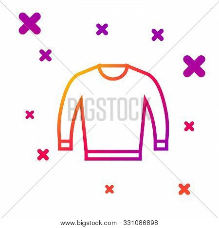 Color Line Sweater Icon Isolated On White Background. Pullover Icon. Gradient Random Dynamic Shapes.