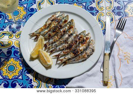 Sardines Espeto, Malaga Style Fish On Stick Barbecue Prepared On Olive Tree Firewoods On Beach