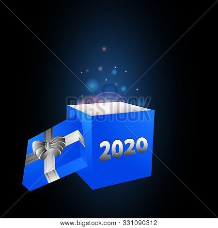 3d Illustration Of New Years Blue Gift Box With Ribbon Bow And 2020 Date With Glowing Matter Coming