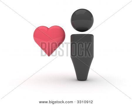 3D Web Icon - Favourites (Heart Version)