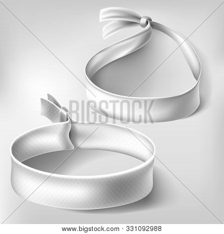 Wristband Mockup Set. Blank White Paper Or Cloth Bracelets With Lock. Empty Round Hand Event Party W