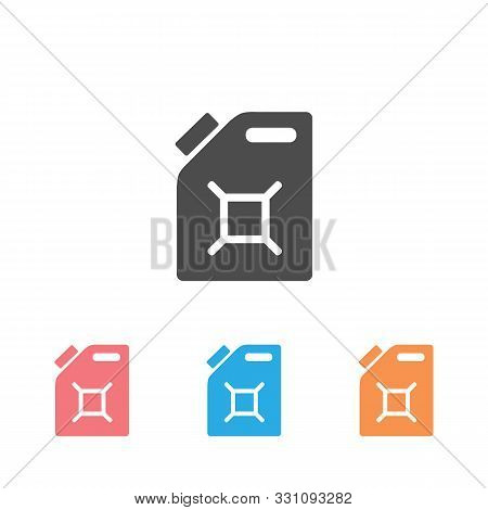 Gasoline Canister Vector Icon Set. Filled Flat Sign For Mobile Concept And Web Design. Jerrycan Glyp