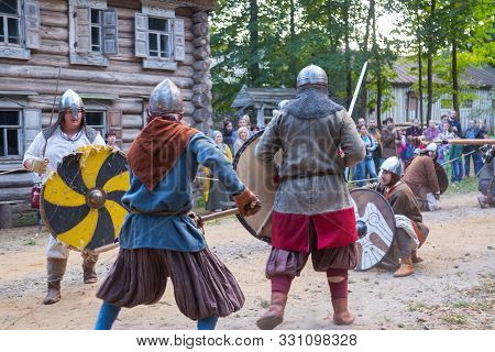 Nizhniy Novgorod, Russia - June 2018: Volga Shtandart Historic Festival. Militant Medieval Warriors