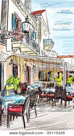 Croatia town street - illustration