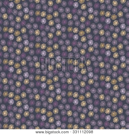 Daisy Moody Polka Dot Seamless Pattern. Modern Ditsy Tiny All Over Print Flower Circle. Floral Spott