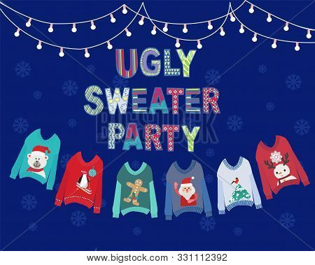 Vector Hand Drawn Background With Hanging Ugly Christmas Sweaters  And String Lights. Christmas Holi
