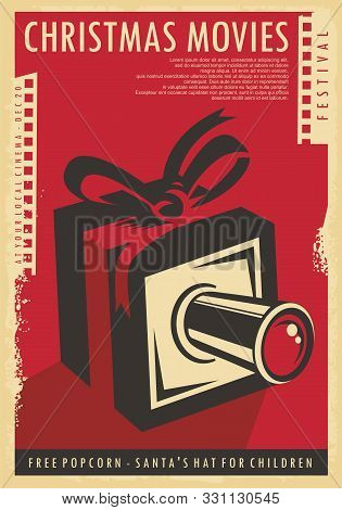 Christmas Movies Festival Retro Poster Design With Christmas Gift, Film Strips  And Movie Camera. Vi