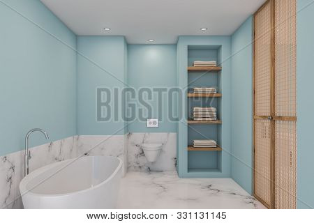 White Marble And Blue Bathroom, Tub And Toilet