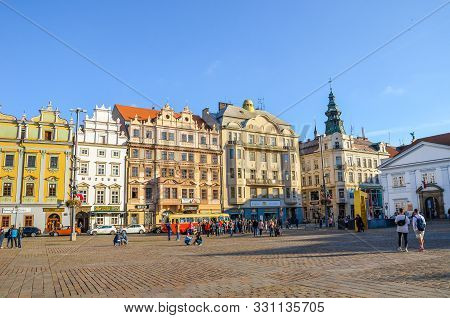 Pilsen, Czech Republic - Oct 28, 2019: People On The Main Square, Republic Square, In Plzen, Bohemia