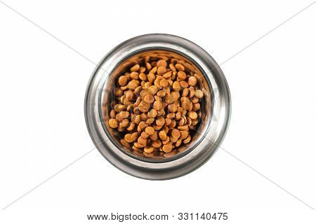 Cat Or Dog Food In A Plate Isolated On White. Dry Food.