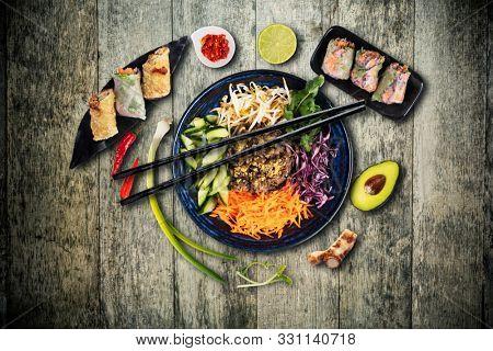Top view composition of Bun bo nam bo vietnamese food in bowl