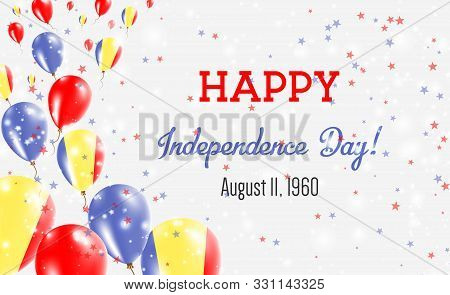 Chad Independence Day Greeting Card. Flying Balloons In Chad National Colors. Happy Independence Day