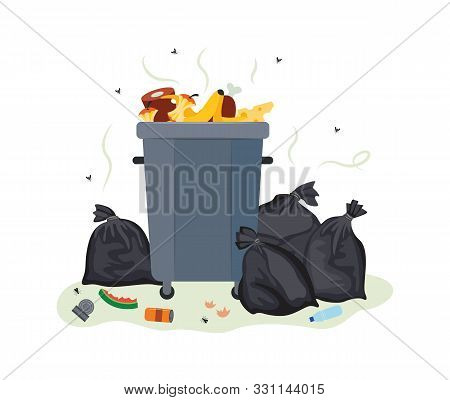 Full Metal Trash Can Overflowing With Food Waste - Dirty Garbage Container