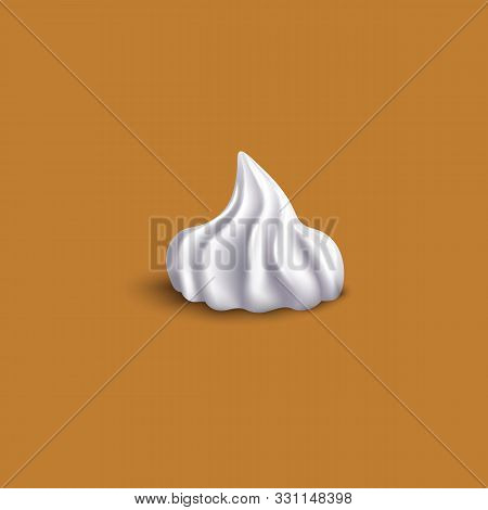 Realistic Dollop Of White Whipped Cream From Side View - Isolated Vector Illustration.