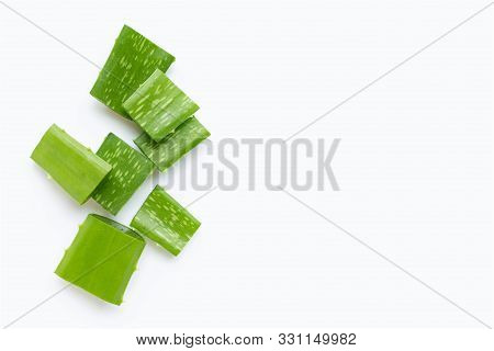 Aloe Vera Cut Pieces On White Background. Copy Space
