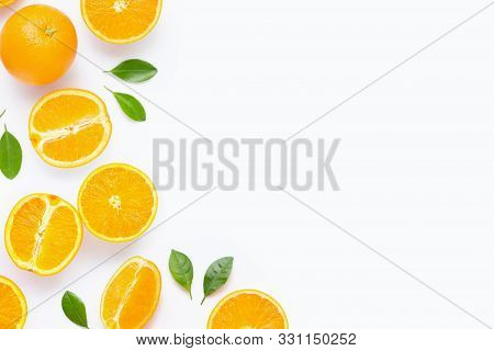 Fresh Orange Citrus Fruit With Leaves Isolated On White Background. Juicy And Sweet