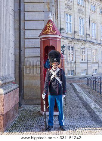 Copenhagen, Denmark - September 30: Royal Sentry Guard On Duty At Amalienborg Palace