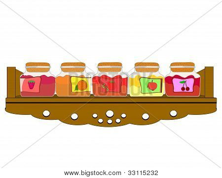 Vector illustration of shelf cupboard filled with jam jars