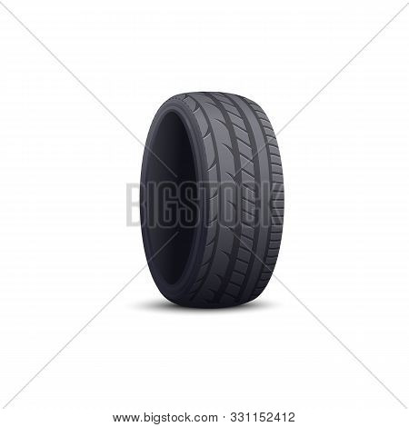 Realistic Car Tyre Isolated On White Background - Black Rubber Wheel Rim Protector