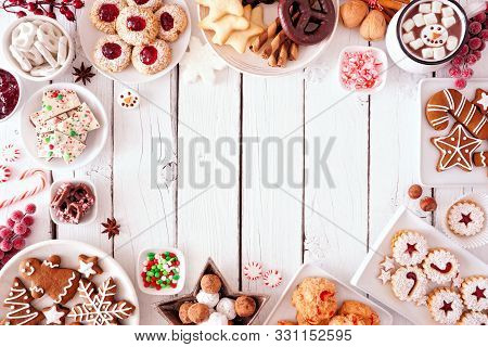 Cookies, Christmas, Frame, Border, Holiday, Table, Gingerbread, Men, Sweets, Festive, Background, De