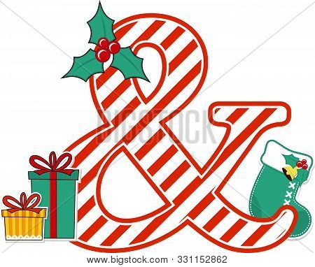 Ampersand Symbol With Red And White Candy Cane Pattern And Christmas Design Elements Isolated On Whi