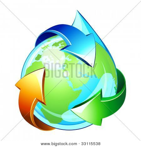 Vector icon of water drop like planet Earth  . Cycle of water.