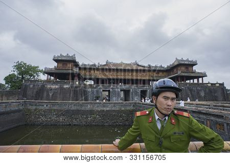Hue, Thua Thien-hue, Vietnam - February 27, 2011: Vietnamese Guard At Forbidden Purple City