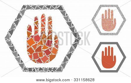 Abort Hand Mosaic Of Ragged Pieces In Different Sizes And Shades, Based On Abort Hand Icon. Vector T