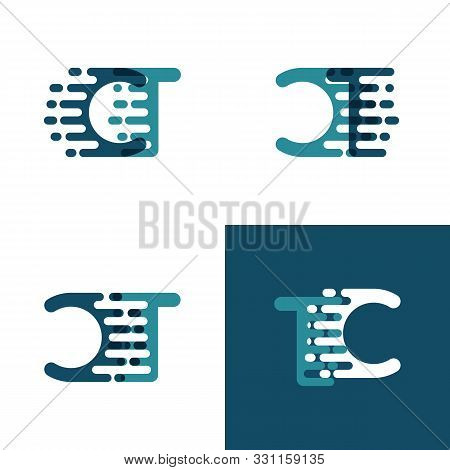 Ct Letters Logo With Accent Speed In Light Green And Dark Blue